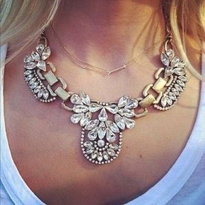 Jewelry - Brass and clear rhinestone Statement necklace